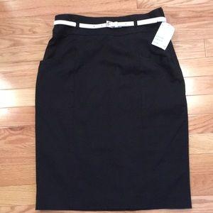 Black Lined Pencil Skirt (High Waist) with Belt
